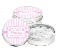 Stripes Pink Personalised Christening Day Favour Tins Keepsakes x1