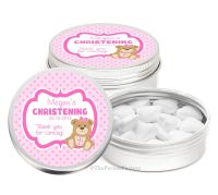 Teddy Bear Pink Personalised Christening Day Favour Tins Keepsakes x1