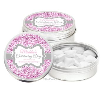 Glitter Pink Personalised Christening Day Favour Tins Keepsakes x1