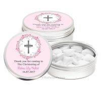 Floral Wreath Cross Pink Personalised Christening Day Favour Tins Keepsakes x1