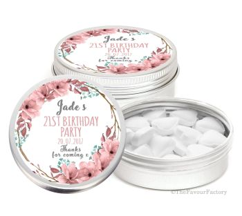 Boho Floral Wreath Personalised Birthday Party Favour Tins Keepsakes x1
