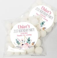 Boho Floral Feathers Birthday Party Favours Sweet Bags & Stickers KITS