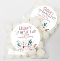 Boho Floral Feathers Personalised Birthday Party Sweet Bags & Stickers