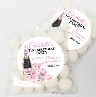 Champagne & Flowers Personalised Birthday Party Sweet Bags & Stickers