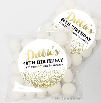 Gold Glitter Confetti Personalised Birthday Party Sweet Bags & Stickers