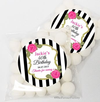 Black Stripe Roses Personalised Birthday Party Sweet Bags & Stickers