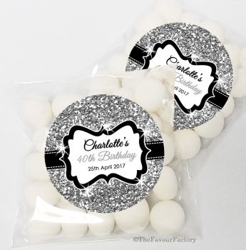 Silver Glitter Personalised Birthday Party Sweet Bags & Stickers