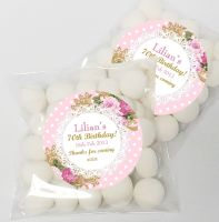 Vintage Ornate Roses Personalised Birthday Party Sweet Bags & Stickers