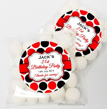 Polka Dots Personalised Birthday Party Sweet Bags & Stickers