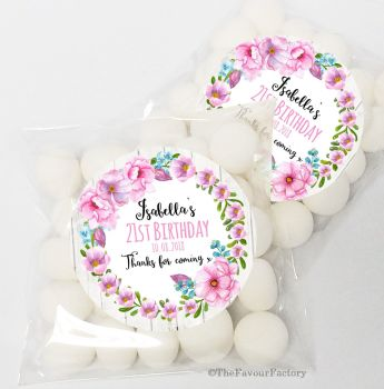 Isabella Floral Wreath Personalised Birthday Party Sweet Bags & Stickers