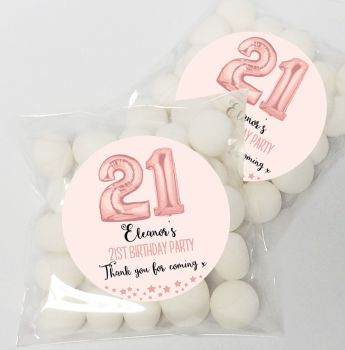 Rose Gold Age Balloons Personalised Birthday Party Sweet Bags & Stickers