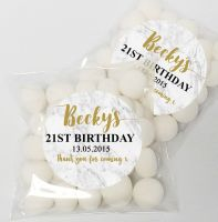 Marble Personalised Birthday Party Sweet Bags & Stickers