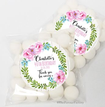 Charlotte Tropical Florals Personalised Birthday Party Sweet Bags & Stickers