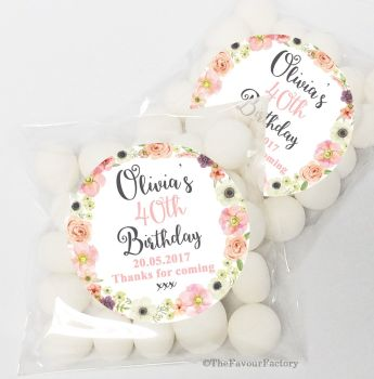 Jessica Florals Personalised Birthday Party Sweet Bags & Stickers