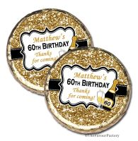 Gold Glitter Champagne Personalised Birthday Party Mint Chocolates x10