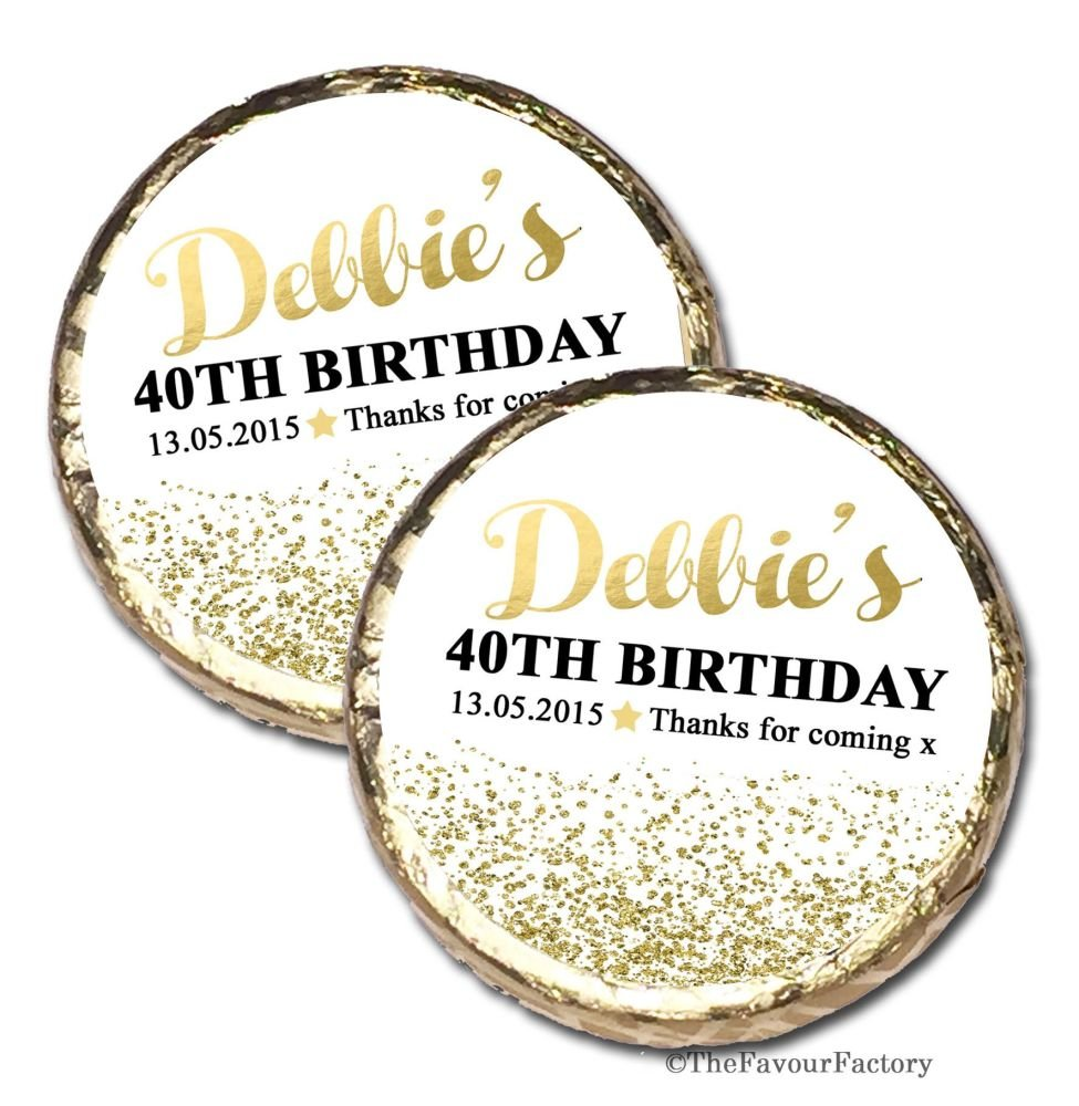 Gold Glitter Confetti Personalised Birthday Party Mint Chocolates x10