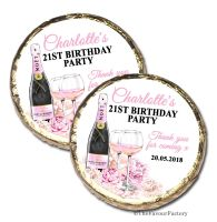 Champagne & Flowers Personalised Birthday Party Mint Chocolates Favours x10