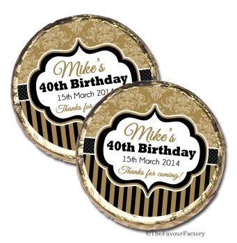 Damask Stripes Personalised Birthday Party Mint Chocolates Favours x10