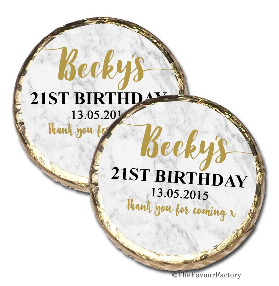 Marble Personalised Birthday Party Mint Chocolates Favours x10