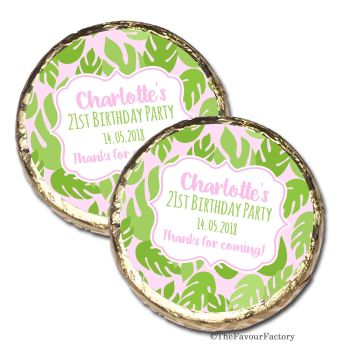 Palm Leaves Personalised Birthday Party Mint Chocolates Favours x10