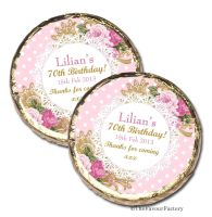 Vintage Ornate Roses Personalised Birthday Party Mint Chocolates Favours x10