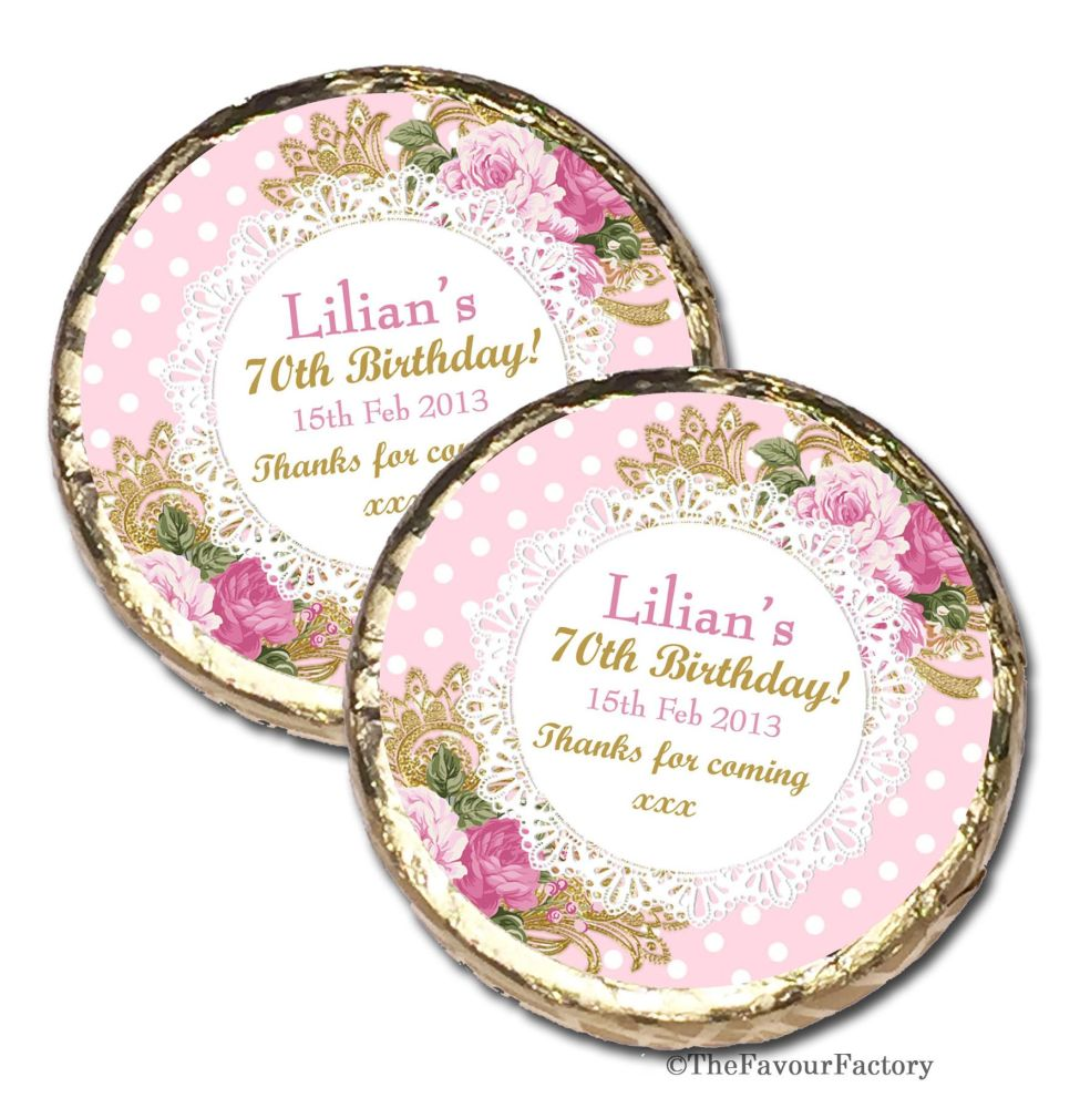 Vintage Ornate Roses Personalised Birthday Party Mint Chocolates Favours x1