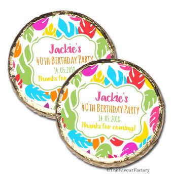 Bright Tropical Leaves Personalised Birthday Party Mint Chocolates Favours x10