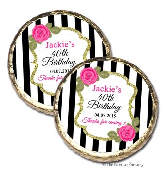 Black stripe Roses Personalised Birthday Party Mint Chocolates Favours x10