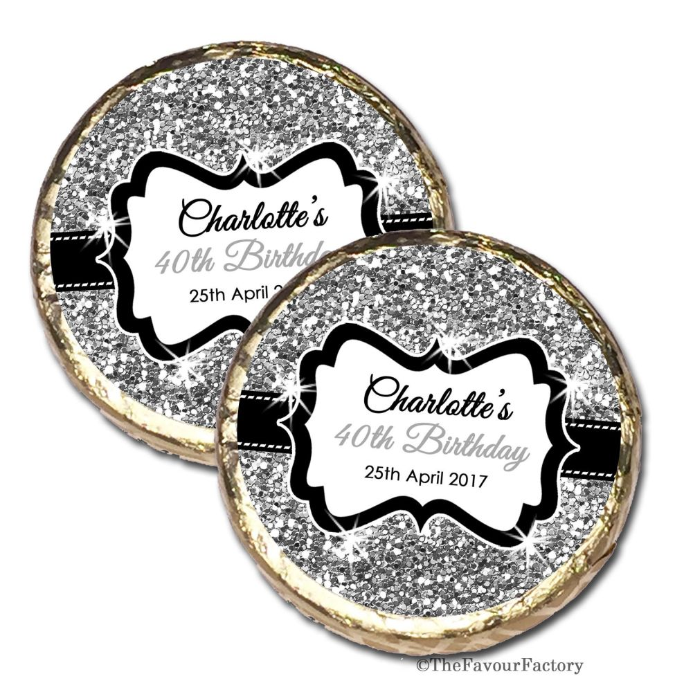 Silver Glitter Personalised Birthday Party Mint Chocolates Favours x10