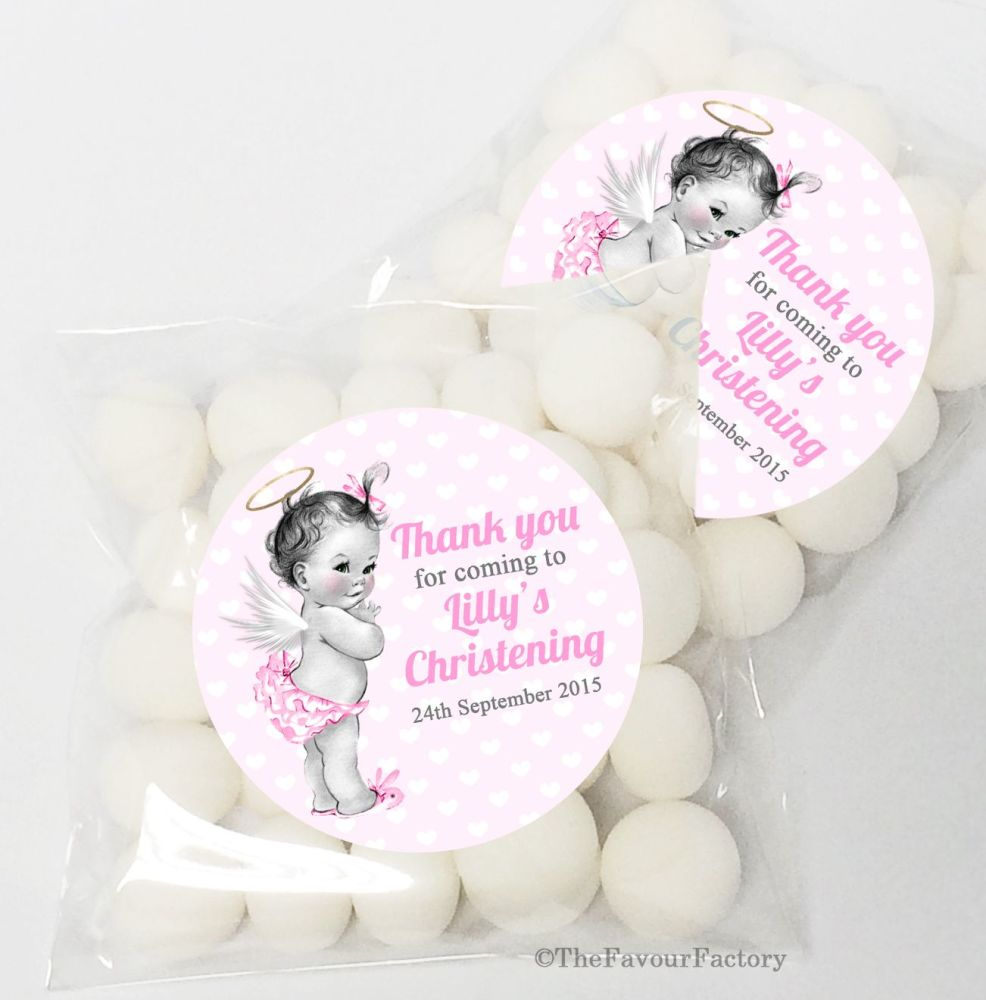 Vintage Baby Girl Christening Baptism Sweet Bags Table Favours Kits x12