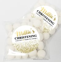 Gold Glitter Confetti Christening Baptism Sweet Bags Favours Kits x12