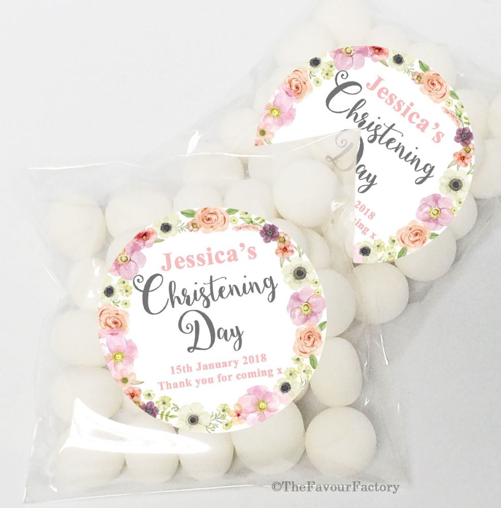 Jessica Florals Christening Baptism Sweet Bags Favours Kits x12