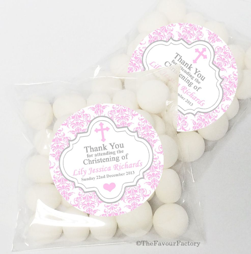 Damask Cross Pink Christening Baptism Sweet Bags Table Favours Kits x12