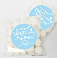 Love Hearts Blue Christening Baptism Sweet Bags Table Favours Kits x12
