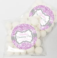 Glitter Pink Christening Baptism Sweet Bags Favours Kits x12