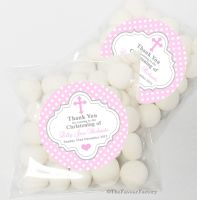 Polka Dots Cross Pink Christening Baptism Sweet Bags Table Favours Kits x12