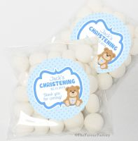Bear with Cross Blue Christening Sweet Bags Favours Kits x12