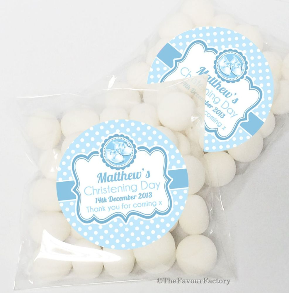 Booties blue Christening Baptism Sweet Bags Table Favours Kits x12