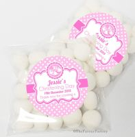 Booties Pink Christening Day Sweet Bags Favours Kits x12