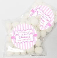 Candy Stripes pink Christening Day Sweet Bags Favours Kits x12
