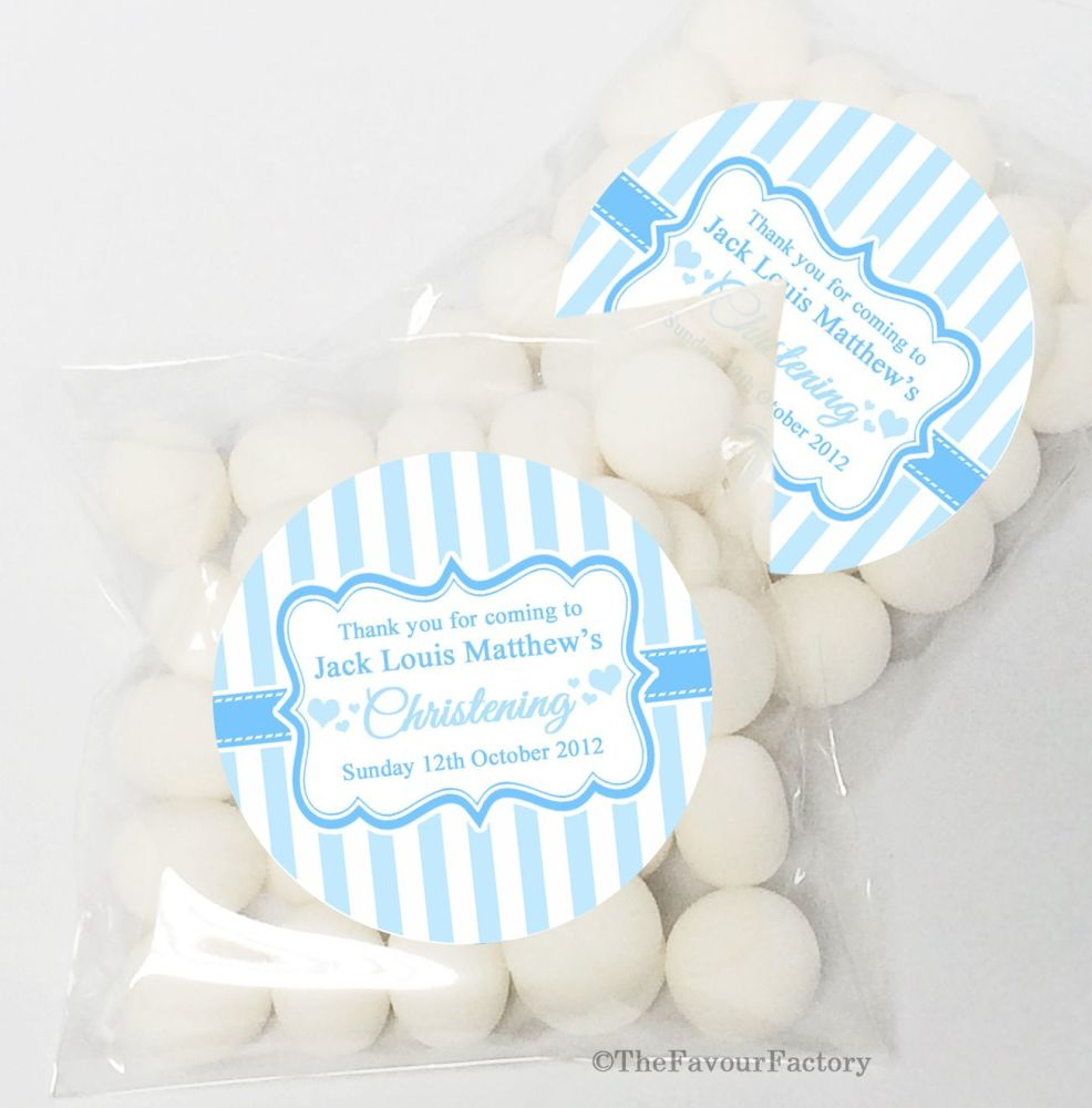 Candy Stripes Blue Christening Baptism Sweet Bags Table Favours Kits x12