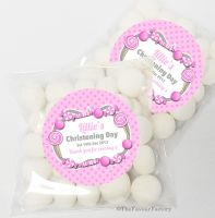Candy Sweets Pink Christening Day Sweet Bags Favours Kits x12