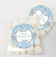 Glitter Blue Christening Baptism Sweet Bags Favours Kits x12