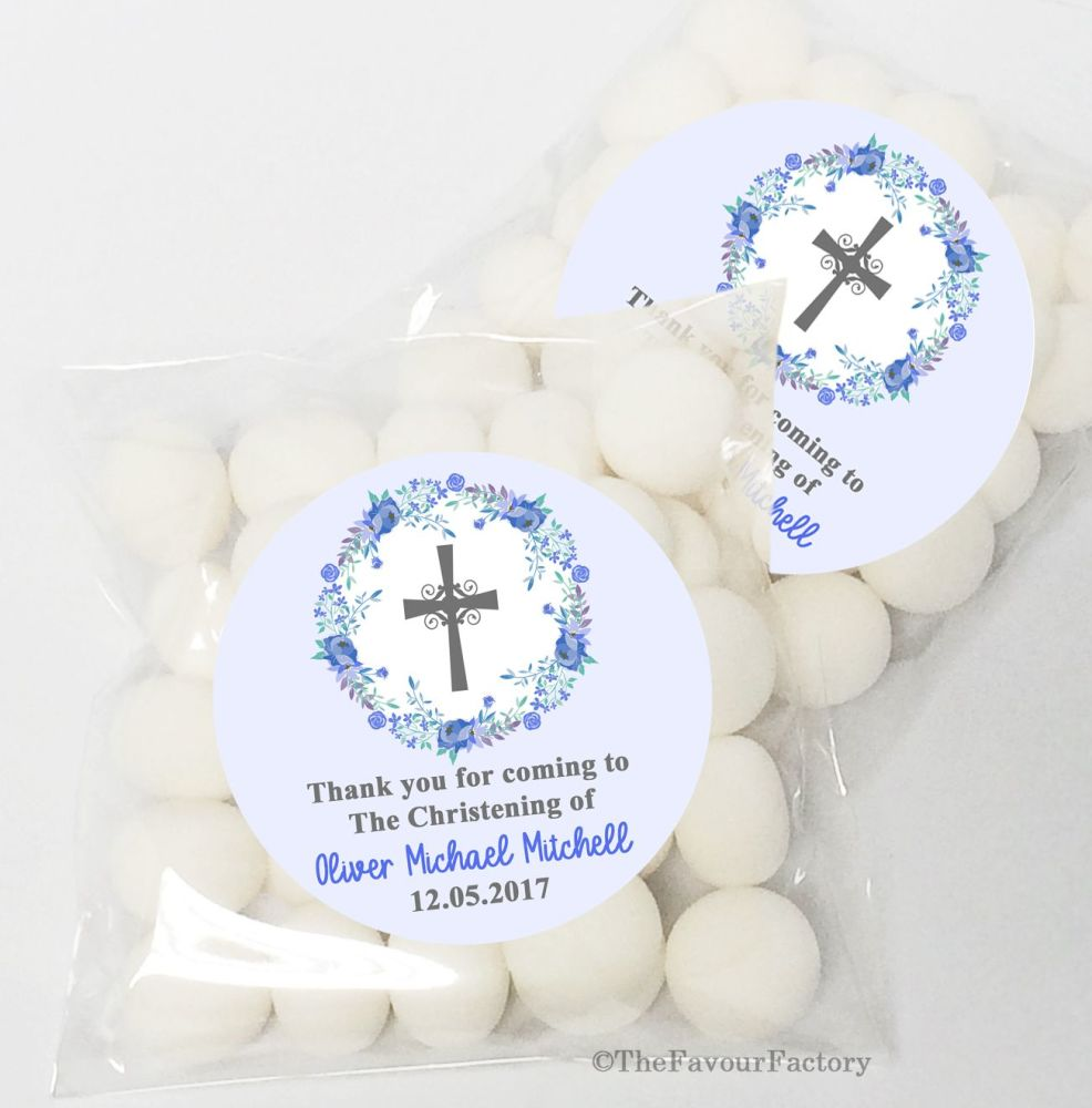 Floral Wreath Blue Christening Baptism Sweet Bags Favours Kits x12