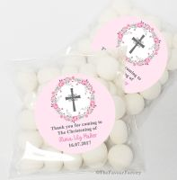 Floral Wreath Pink Christening Baptism Sweet Bags Favours Kits x12