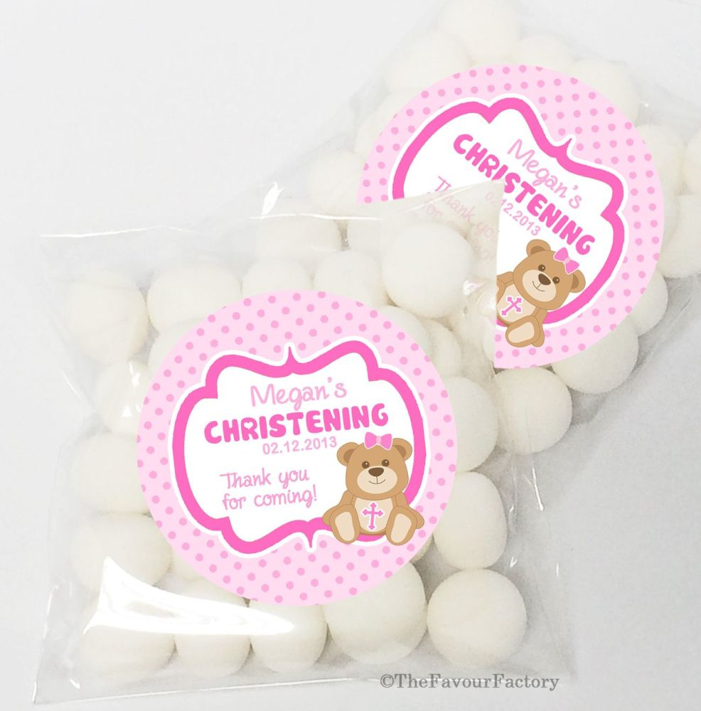 Bear with Cross Pink Christening Baptism Sweet Bags Table Favours Kits x12