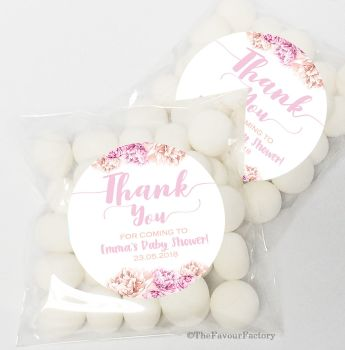 Thank You Florals Baby Shower Party Personalised favours Sweet Bags kits x12