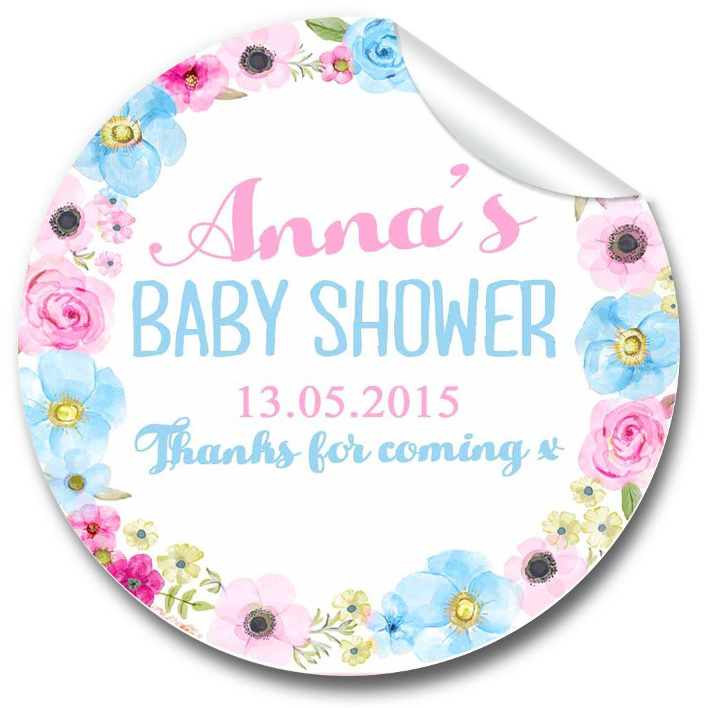 Anna Floral Baby Shower Party Favours Stickers,  Personalised 1xA4 sheet
