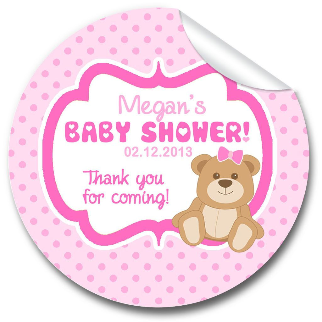 Bear Pink Baby Shower Party Favours Stickers,  Personalised 1xA4 sheet