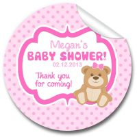 Teddy Bear Pink Baby Shower Party Favours Stickers